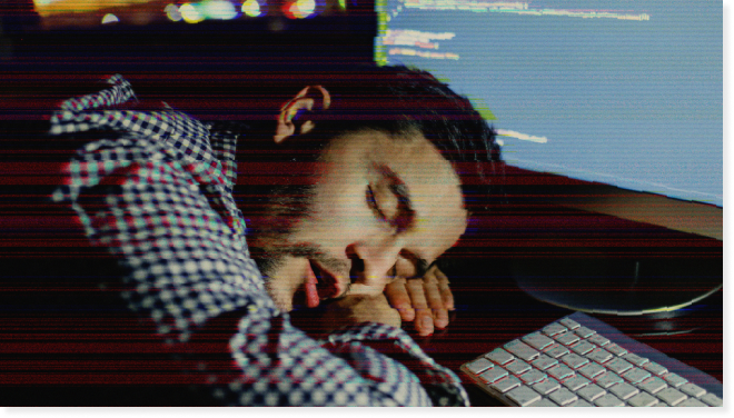 Bad Programmer Sleeping on a Keyboard