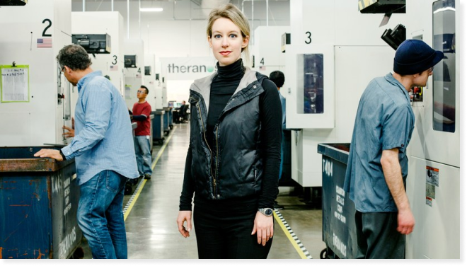 Elizabeth Holmes at a company facility in Newark, 2015. Courtesy of Wired