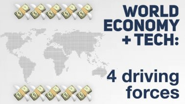 artwork depicting a stylized world map with dollar signs