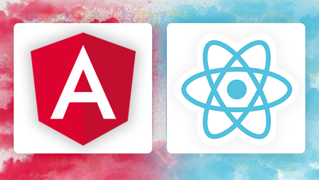 artwork depicting icons of React and Angular lined up against each other