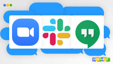 artwork depicting various remote work communication software logos