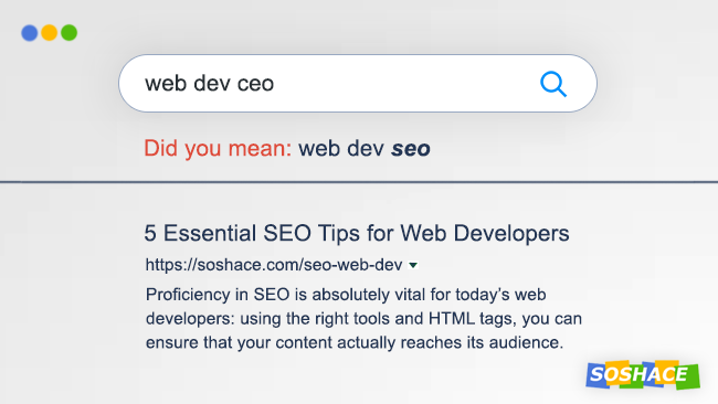 "Thumbnail image designed to look like ""SEO web dev"" Google search query"