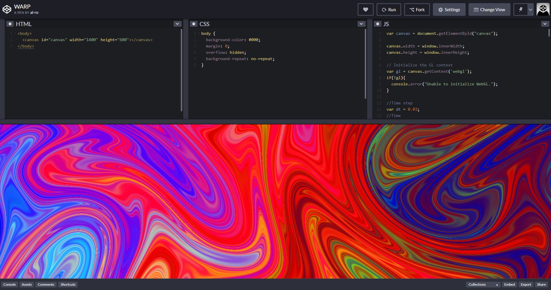 screenshot of codepen.io interface
