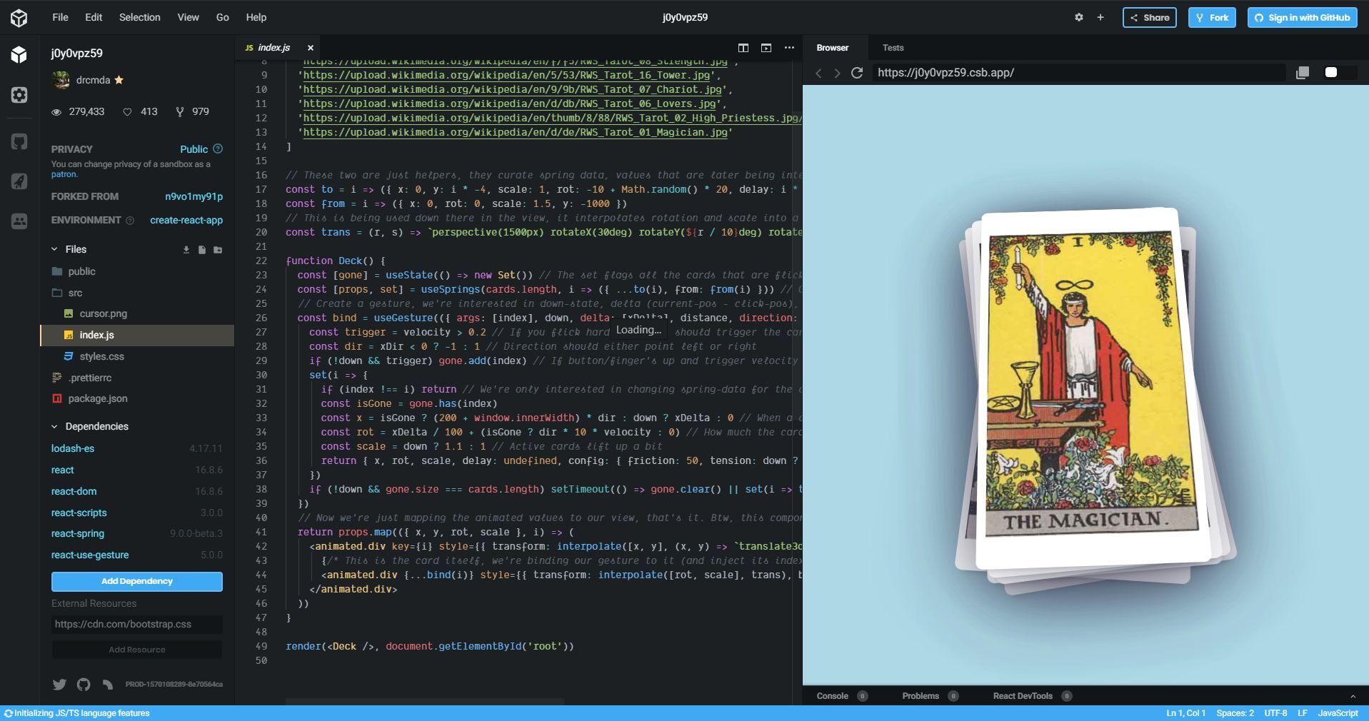 screenshot of codesandbox.io interface