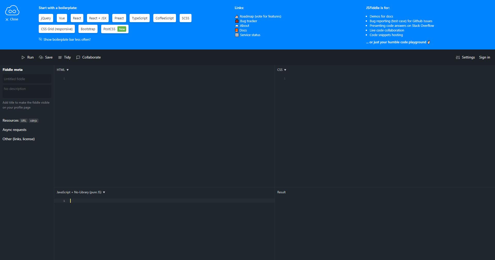 screenshot of jsfiddle.net interface