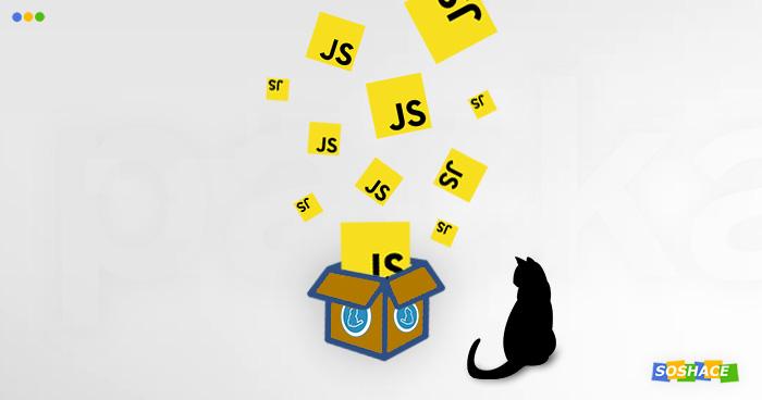 artwork depicting yarn's mascot with JavaScript code