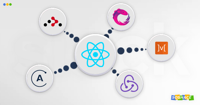 artwork depicting various parts of the React ecosystem