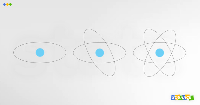 artwork depicting various stages of an atom