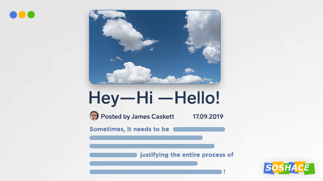 "artwork depicting a blog post with clouds titled ""Hey hi hello!"""