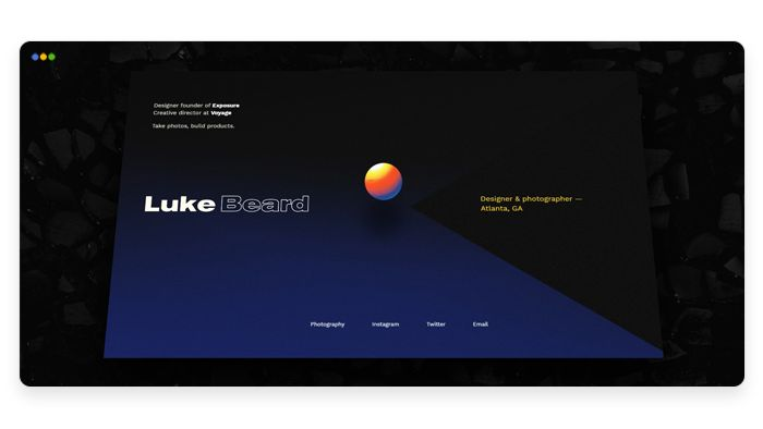 screenshot depicting the portfolio of Luke Beard