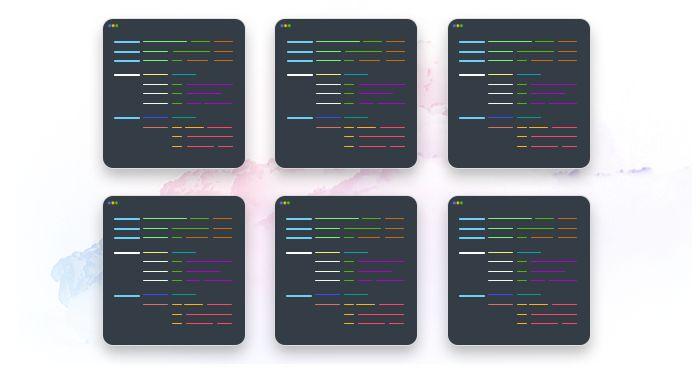 artwork depicting a number of mockup coding terminals