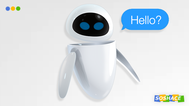 "artwork depicting a bot saying ""Hello?"""