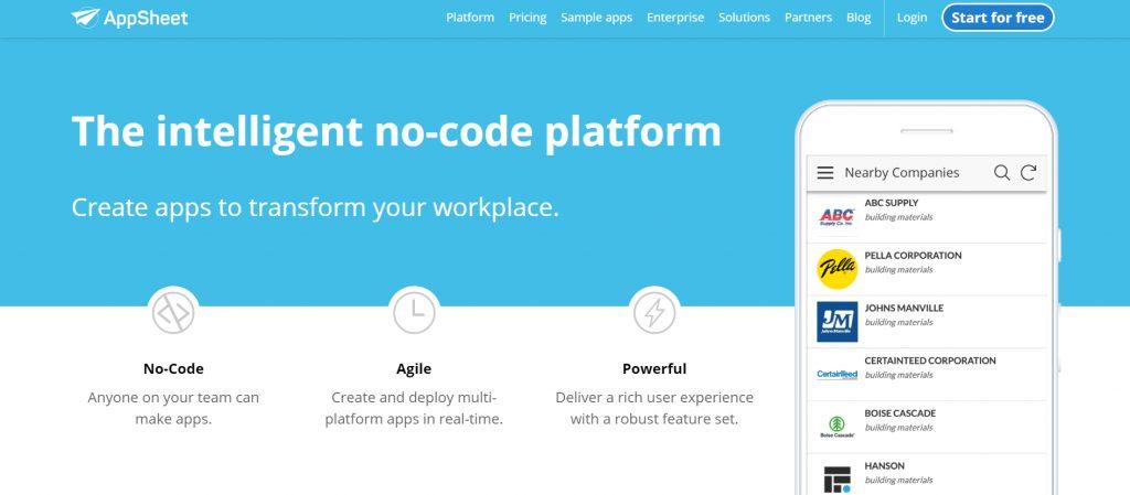 App Sheet Homepage