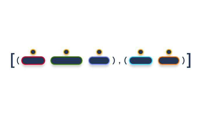 artwork depicting a set of Python 3 tuples inside a list