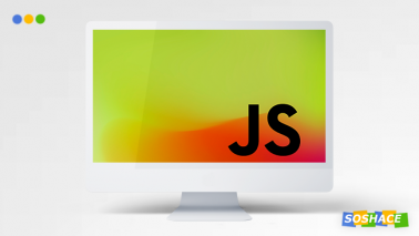 artwork depicting a monitor displaying JavaScript logo