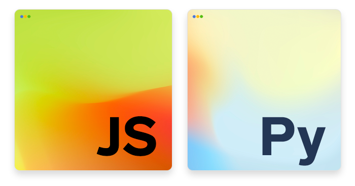 artwork depicting stylized JavaScript and Python logos