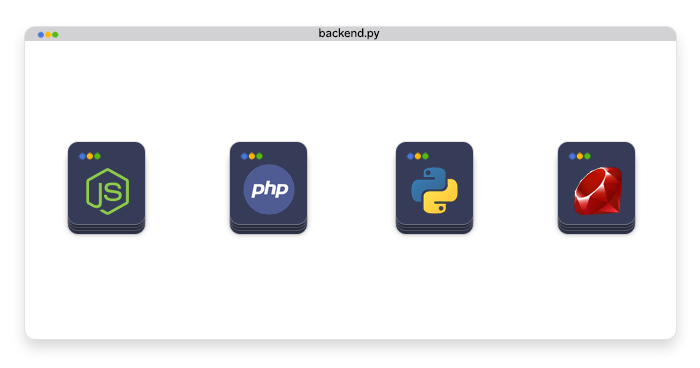 logos of Node.js, PHP, Python, and Ruby