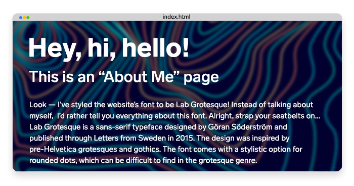 "a stylized ""About me"" page using HTML and CSS"