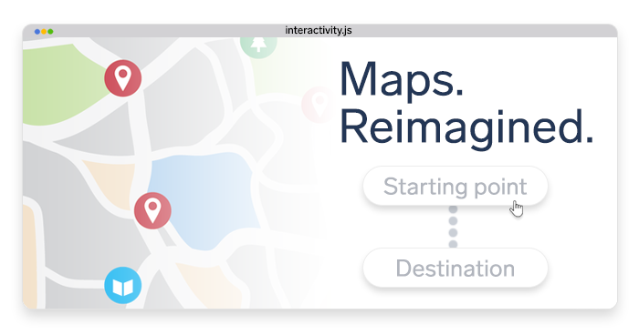 mockup interface of a maps app