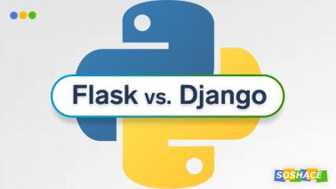 artwork depicting stylized Flask and Django logos