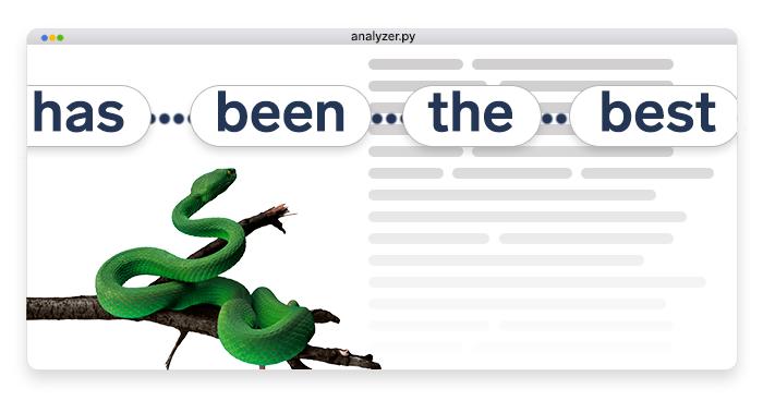 artwork depicting a python analyzing human language