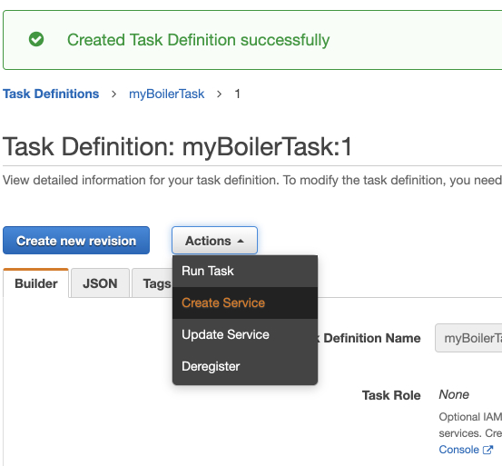Task definitions successfully created