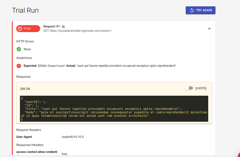 Test Report of API Test created