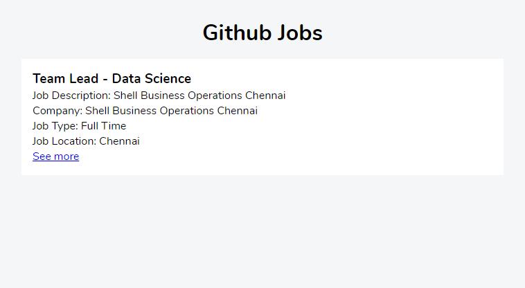 Github Job: Profile page