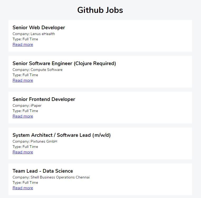 Github Jobs: Home page