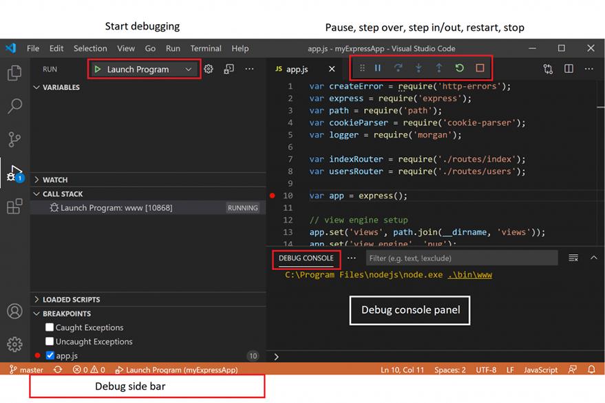 VS Code debugging window