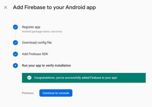 Finalize setup Firebase on Android