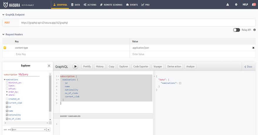 Image of GraphiQL editor with subscription query