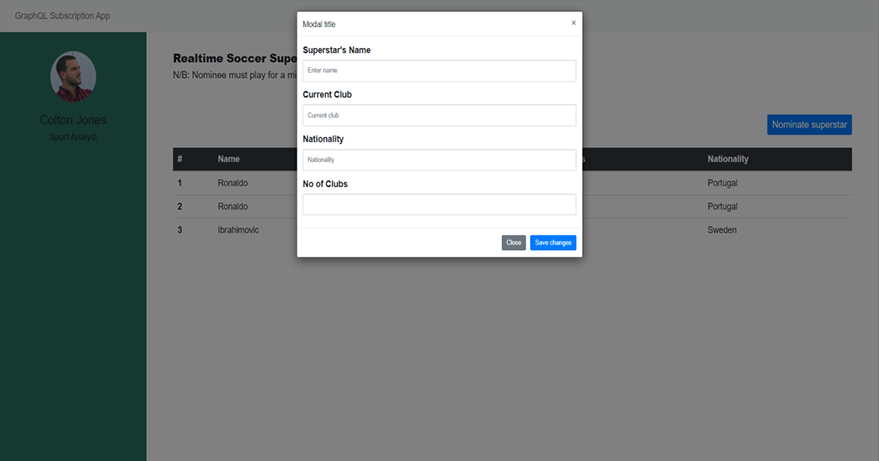 Image of the initial project UI