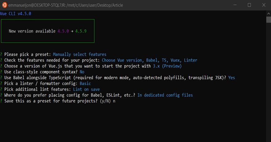 Project setup options