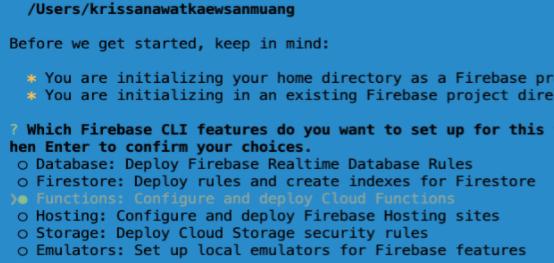 Setup Firebase function