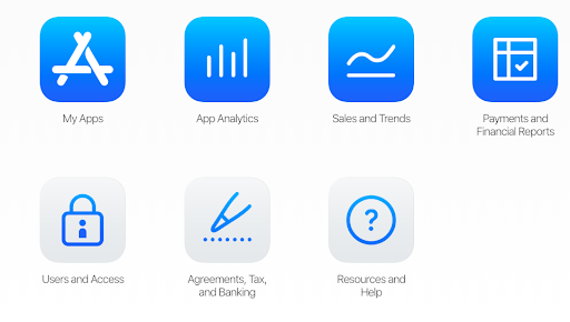 App-store connect dashboard