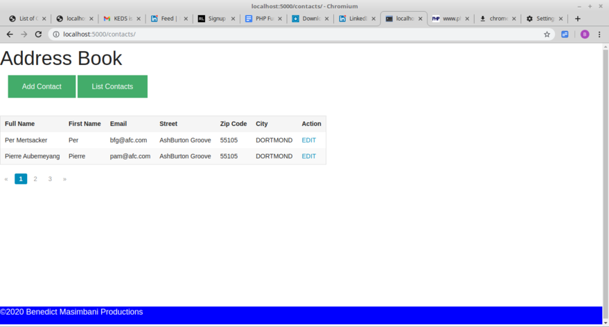 Contacts list with pagination