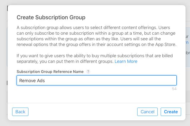 Create subscription group
