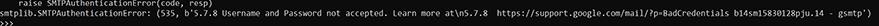 SMTP Authentication error