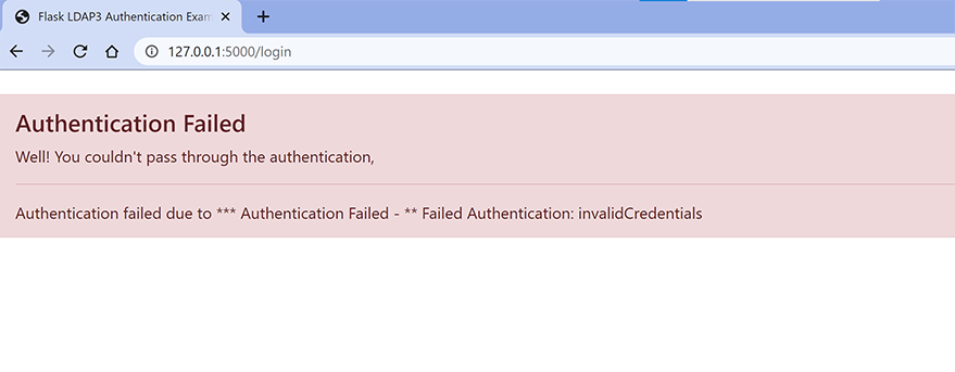 LDAP authentication with FLask failed