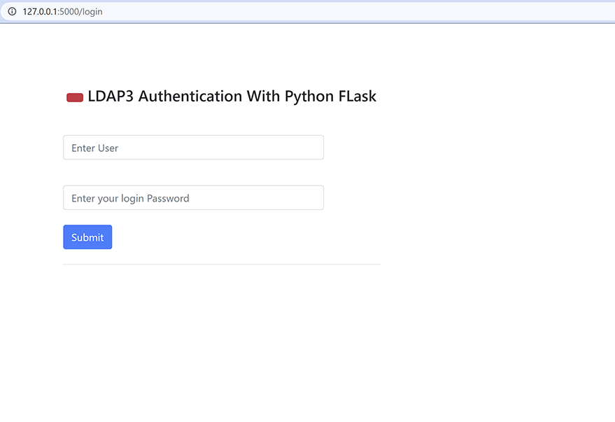 LDAP authentication with FLask home page