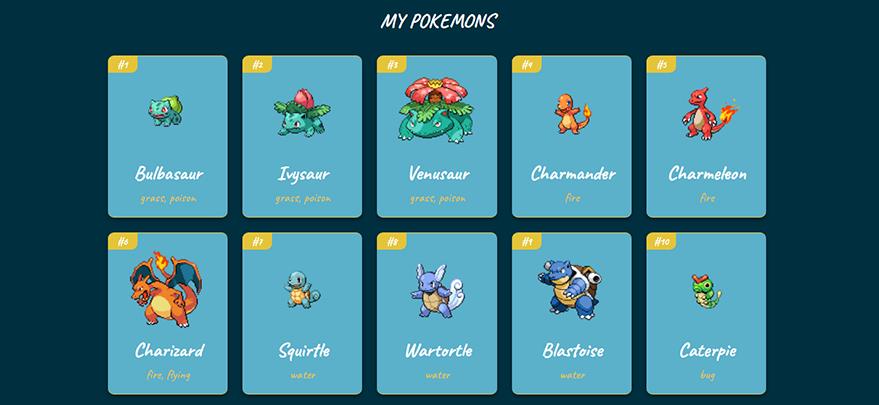 My pokemons in Pokedex