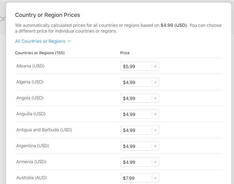 Pricing by country