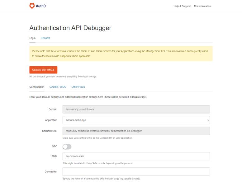 Auth0 API debugger extension