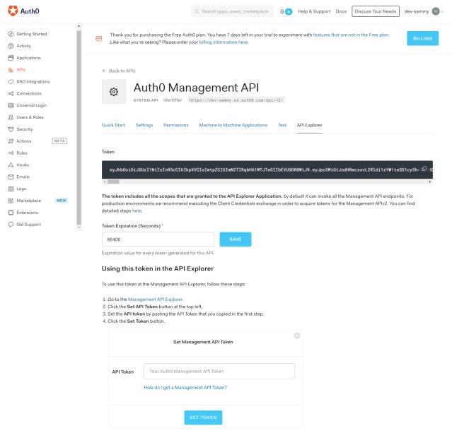 Auth0 management API