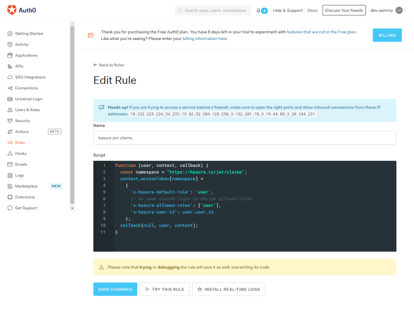 Auth0 Rules