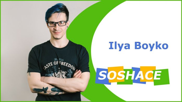 My name is Ilya / and I'm a professional JavaScript developer / with experience in both / front-end and back-end Areas.