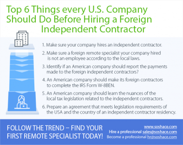 Top 6 things your american company should do before hiring a foreign independent