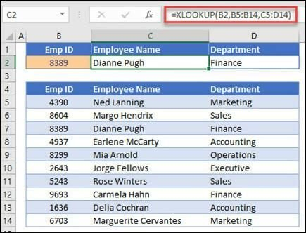 XLOOKUP for search and display an employee's information based on their ID