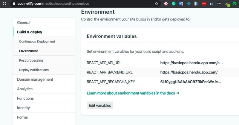 Netlify deploy setting page